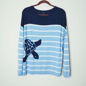 Talbots Blue/White Striped Turtle Sweater. Size XL
